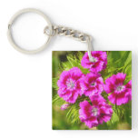 Blooming Sweet William Flowers Keychain