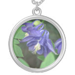 Blue Columbine Flower Necklace