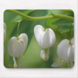 Delicate White Bleeding Heart Mouse Pad
