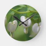 Delicate White Bleeding Heart Round Clock
