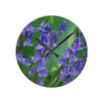 Dew on Bell Flowers Round Clock