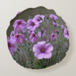 Field of Geraniums Round Pillow