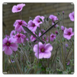Field of Geraniums Square Wall Clock