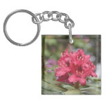 Flowering Red Rhododendron Bush in Bloom Keychain