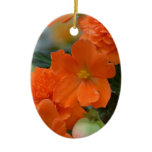 Orange Begonias Ceramic Ornament