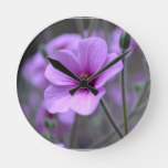 Perfect Geranium Round Clock
