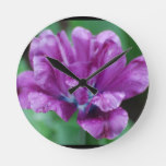 Perfectly Purple Parrot Tulip Round Clock