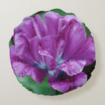 Perfectly Purple Parrot Tulip Round Pillow