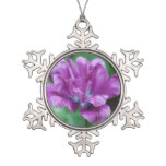 Perfectly Purple Parrot Tulip Snowflake Pewter Christmas Ornament