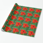 Vibrant Orange Poppy Wrapping Paper