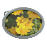 Yellow Coreopsis Oval Belt Buckle